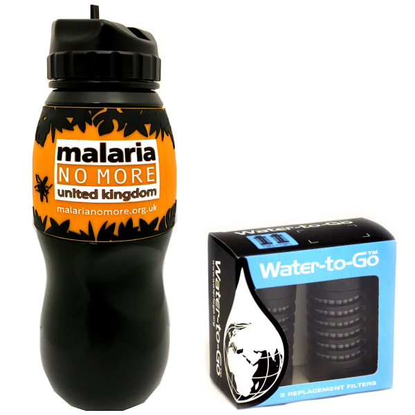 Individual 75cl MNMUK Bundle Containing A Special Edition Water-to-Go 75cl Malaria No More UK Bottle And A Twin Pack